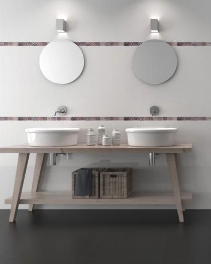 Azulejo monocolor Blanco y Negro Sun 25x75- Tau cerámica