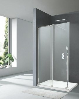 Shower Glass fixed with putting a log X-motion 200-cm profile, Chrome/black and crystal 8mm