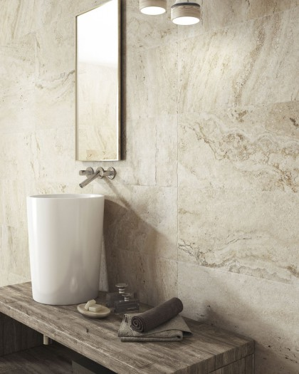 Porcelain imitation travertine marble natural Sienna Beige