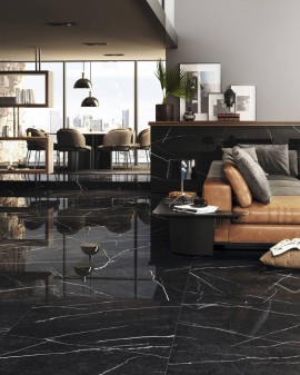 Carrelage aspect marble Noir Mystery Colorker