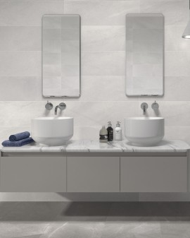 Smooth stone effect bathroom tiles Sincro 25x75 Sanchis Home