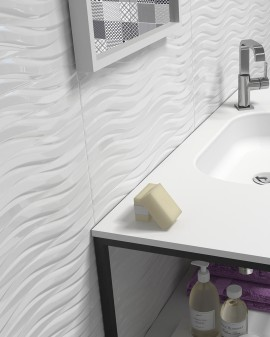 White tiles for bathrooms and kitchens Everest 30x60 Sanchis Home