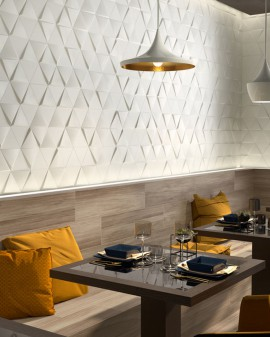 WALL TILE EVOKE TRIANGLE 15X17 ZYX / Layer / White Glossy